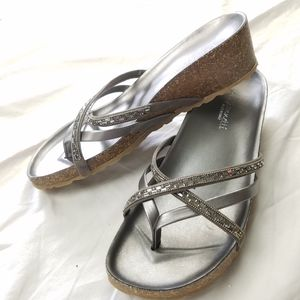 A. GIANNETTI Wedge Flip Flop Sandles W/ Rhinestone